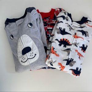 NWOT Carter's Fleece Zip Up PJ's Size 5, set of 3